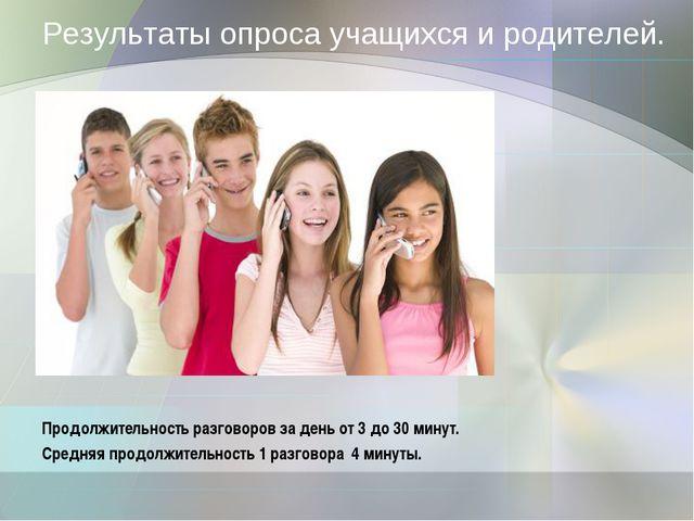 Результаты опроса учащихся и родителей. Продолжительность разговоров за день...