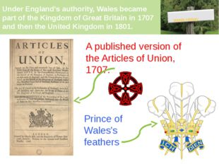 Under England's authority, Wales became part of the Kingdom of Great Britain