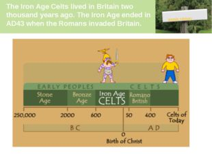 The Iron Age Celts lived in Britain two thousand years ago. The Iron Age ende