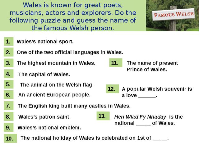 Wales is known for great poets, musicians, actors and explorers. Do the follo...