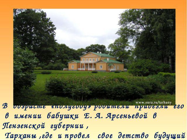 В возрасте «полугоду» родители привезли его в имении бабушки Е. А. Арсеньевой...