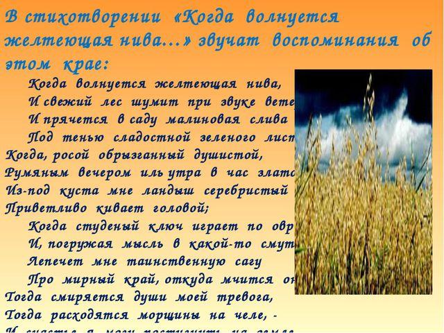 В стихотворении «Когда волнуется желтеющая нива…» звучат воспоминания об этом...