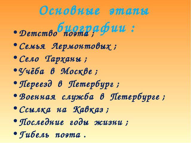 Основные этапы биографии : Детство поэта ; Семья Лермонтовых ; Село Тарханы ;...