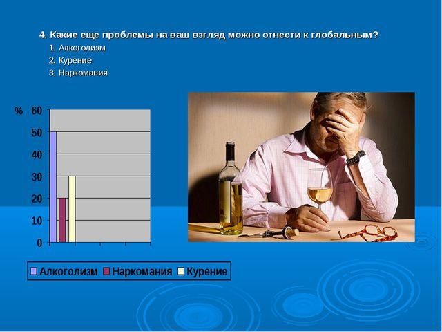 4. Какие еще проблемы на ваш взгляд можно отнести к глобальным? 1. Алкоголизм...
