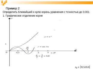 Пример 2 Определить ближайший к нулю корень уравнения с точностью до 0,001 1.