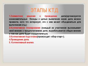 ЭТАПЫ КТД 1.Совместное решение о проведении дела(организуются ознакомительные