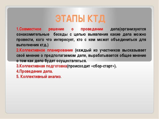 ЭТАПЫ КТД 1.Совместное решение о проведении дела(организуются ознакомительные...