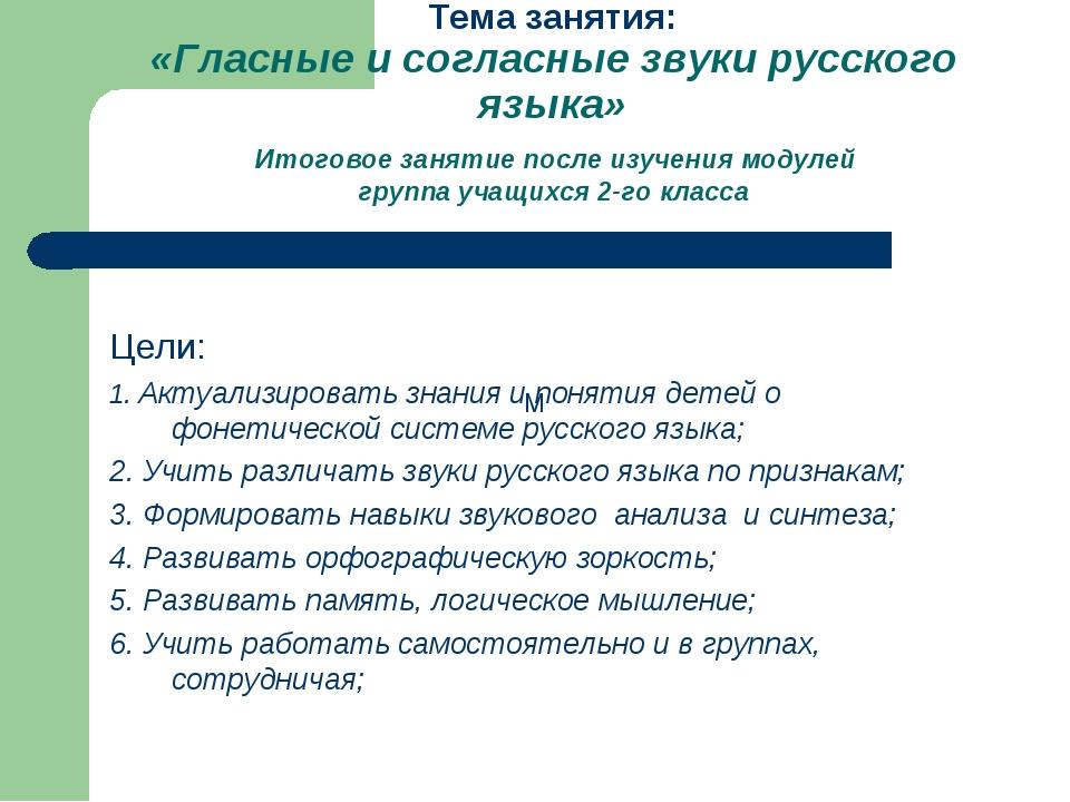 Тема занятия: «Гласные и согласные звуки русского языка» Итоговое занятие пос...