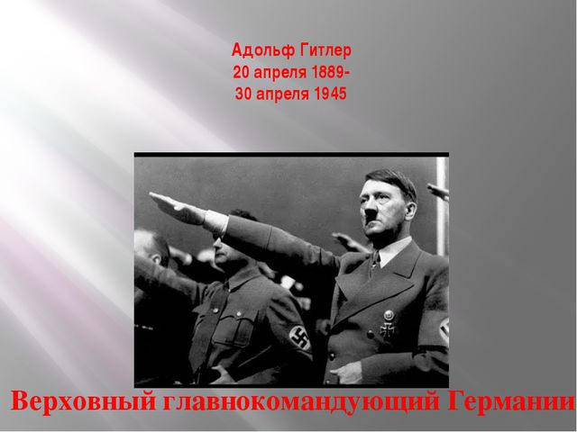 Адольф Гитлер 20 апреля 1889- 30 апреля 1945 Верховный главнокомандующий Герм...