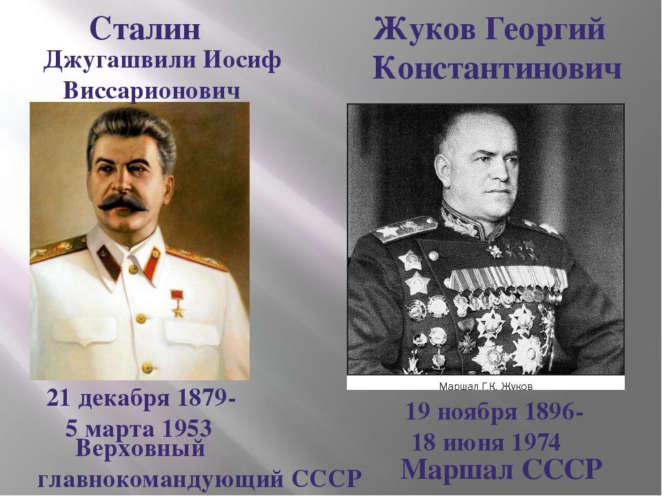 Жуков Георгий Константинович 19 ноября 1896- 18 июня 1974 Маршал СССР Сталин...