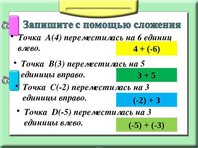 Точка А(4) переместилась на 6 единиц влево. 4 + (-6) Точка В(3) переместилась...