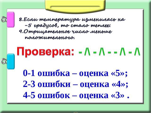 0-1 ошибка – оценка «5»; 2-3 ошибки – оценка «4»; 4-5 ошибок – оценка «3» .