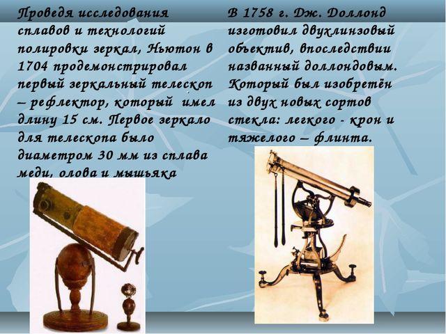 Проведя исследования сплавов и технологий полировки зеркал, Ньютон в 1704 про...