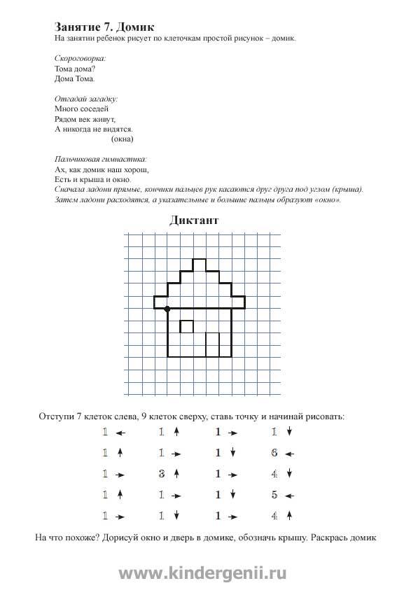 Графический диктант для дошкольников. Рисунок дома по клеточкам