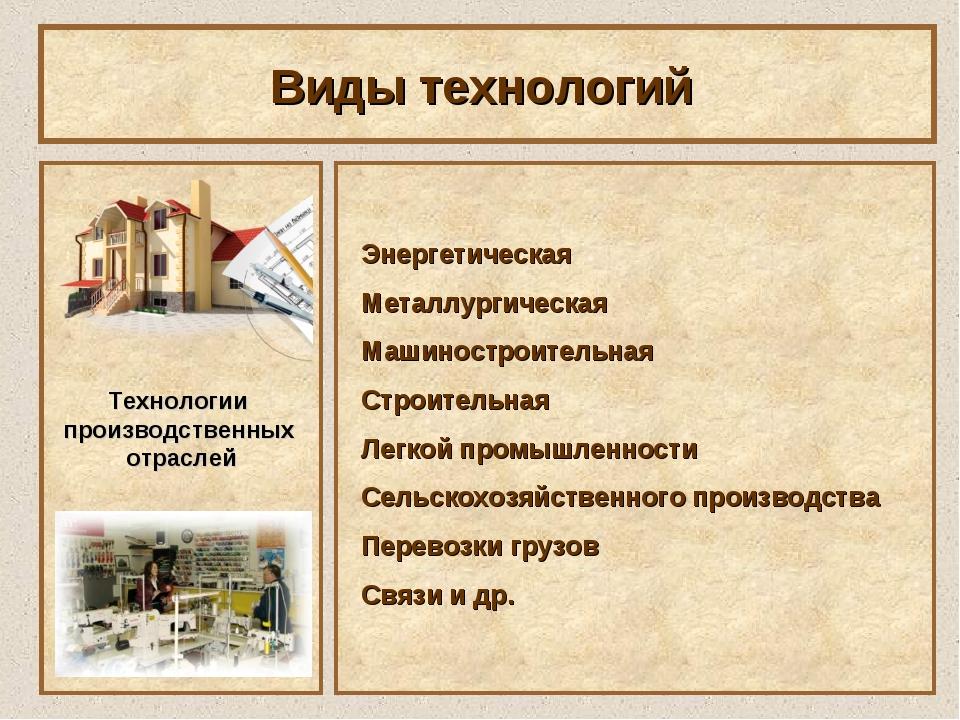 Виды технологий Технологии производственных отраслей Энергетическая Металлург...