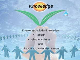 Knowledge Knowledge includes knowledge of self, of other cultures, and of soc
