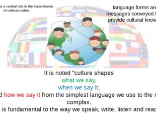 Language has a central role in the transmission of cultural codes; It is note