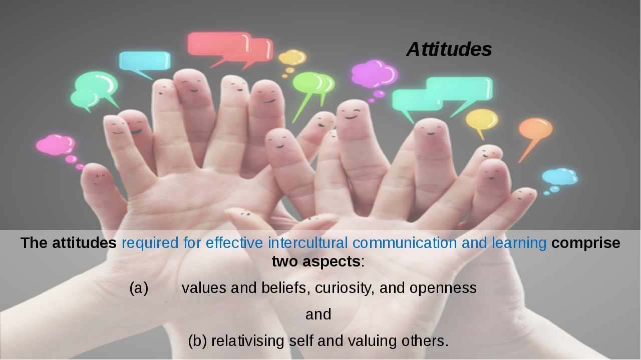 Attitudes The attitudes required for effective intercultural communication an...