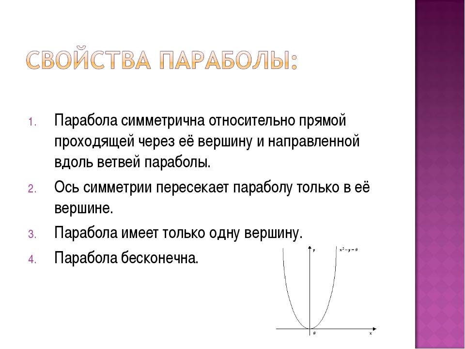 Парабола симметрична относительно прямой проходящей через её вершину и напра...