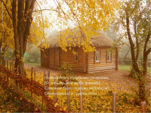 Низкий дом с голубыми ставнями, Не забыть мне тебя никогда,- Слишком были так...