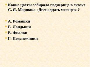 Какие цветы собирала падчерица в сказке С. Я. Маршака «Двенадцать месяцев»? А