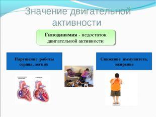 Значение двигательной активности Гиподинамия - недостаток двигательной активн