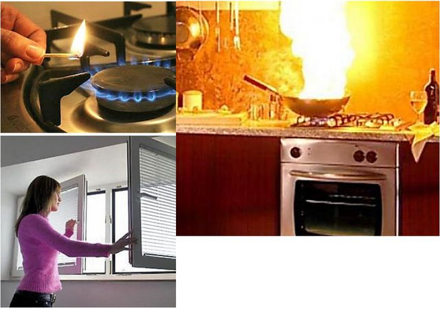При пользовании газовыми плитами: • перед тем как повернуть газовую горелку,...
