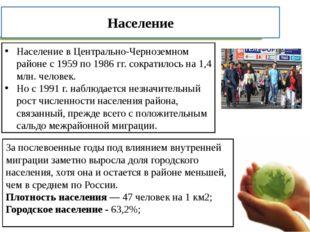 Население в Центрально-Черноземном районе с 1959 по 1986 гг. сократилось на 1