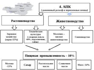 4. АПК ( равнинный рельеф и черноземные почвы) Растениеводство Зерновое хозя