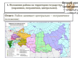 1. Положение района на территории государства (окраинное, пограничное, центра
