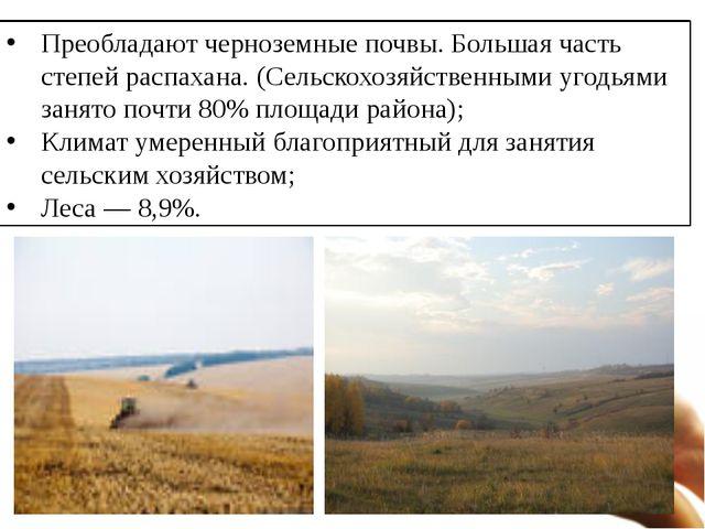 Преобладают черноземные почвы. Большая часть степей распахана. (Сельскохозяйс...