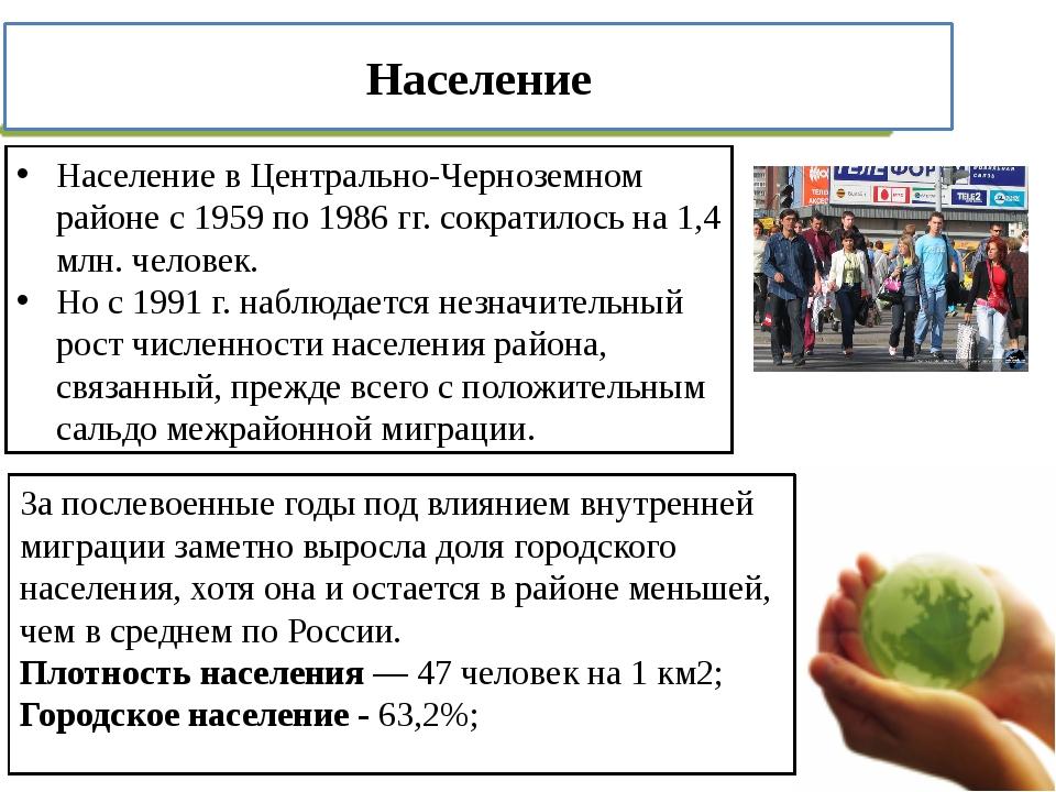 Население в Центрально-Черноземном районе с 1959 по 1986 гг. сократилось на 1...