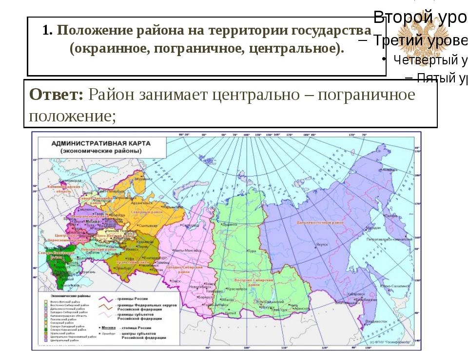 1. Положение района на территории государства (окраинное, пограничное, центра...