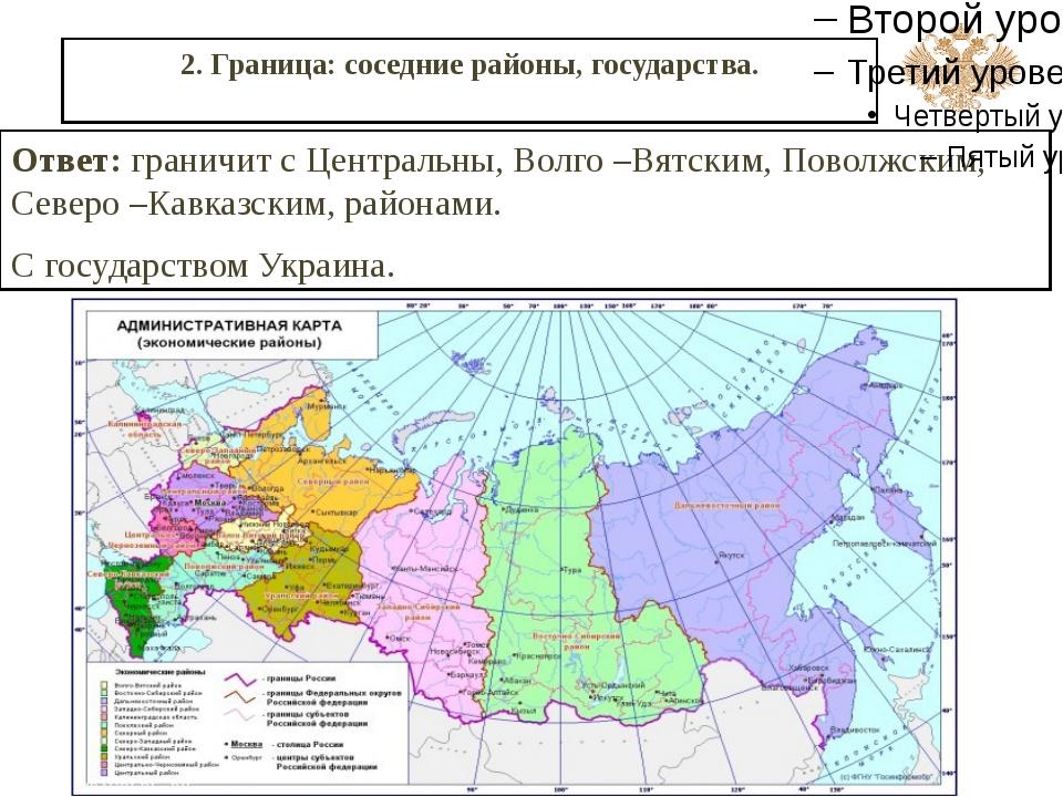 2. Граница: соседние районы, государства. Ответ: граничит с Центральны, Волго...