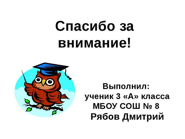 Спасибо за внимание! Выполнил: ученик 3 «А» класса МБОУ СОШ № 8 Рябов Дмитрий