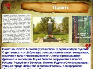 Памятник-бюст Р.А.Охотину установлен в деревне Мари-Луговая. О деятельности э