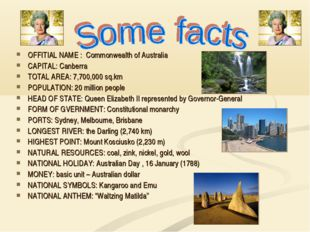 OFFITIAL NAME : Commonwealth of Australia CAPITAL: Canberra TOTAL AREA: 7,70