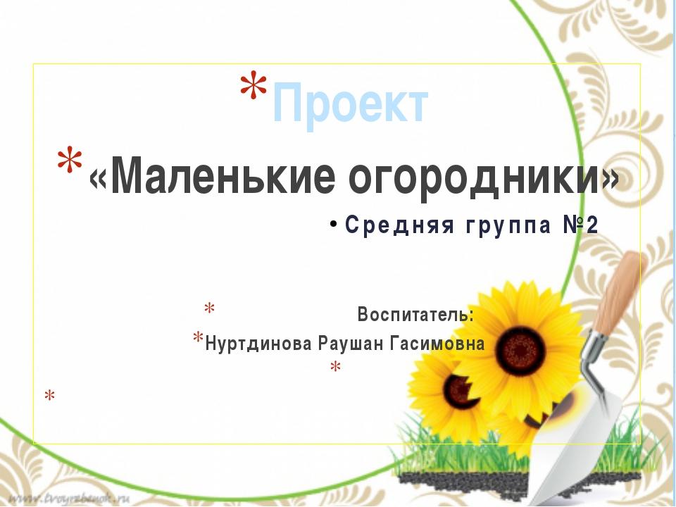 Проект «Маленькие огородники» Средняя группа №2 Воспитатель: Нуртдинова Рауша...