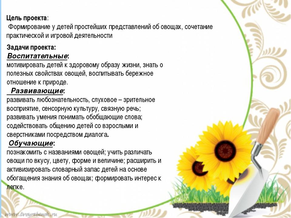 Цель проекта: Формирование у детей простейших представлений об овощах, сочета...
