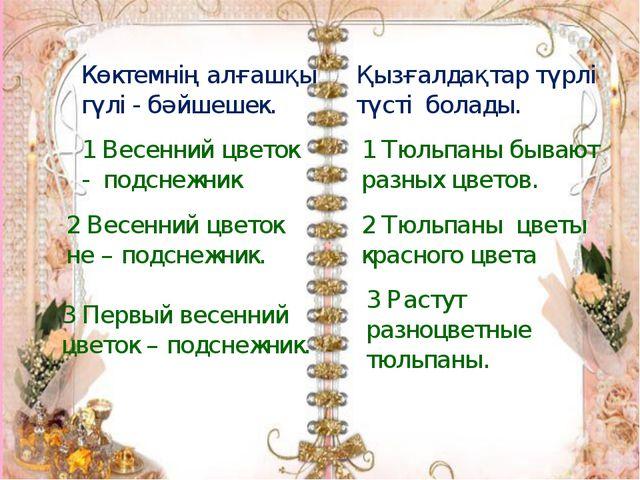 Көктемнің алғашқы гүлі - бәйшешек. 1 Весенний цветок - подснежник 2 Весенний...