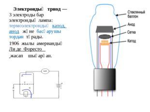 Электрондық триод— 3 электроды бар электрондық лампа: термоэлектрондық като
