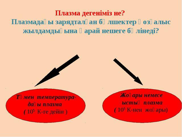 Төмен температура- дағы плазма ( 105 К-ге дейін ) Жоғары немесе ыстық плазма...