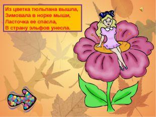 Из цветка тюльпана вышла, Зимовала в норке мыши, Ласточка ее спасла, В страну