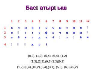 Басқатырғыш (8,3), (1,3), (5,4), (6,4), (1,2) (1,3),(2,3),(9,3)(1,3)(9,2) (1,