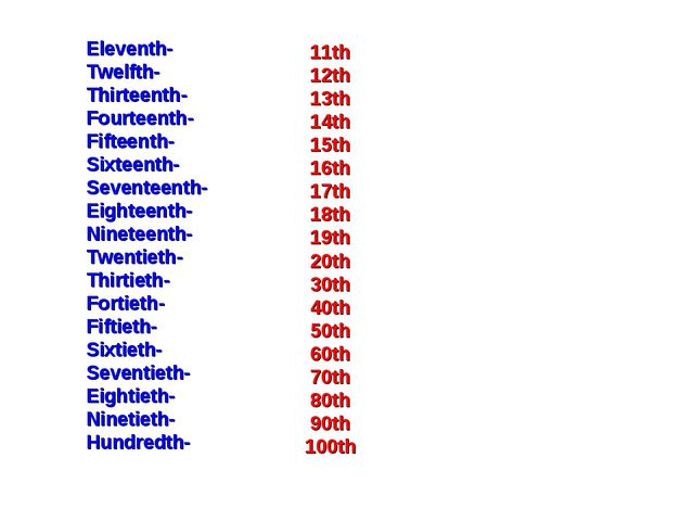Eleventh- Twelfth- Thirteenth- Fourteenth- Fifteenth- Sixteenth- Seventeenth-...