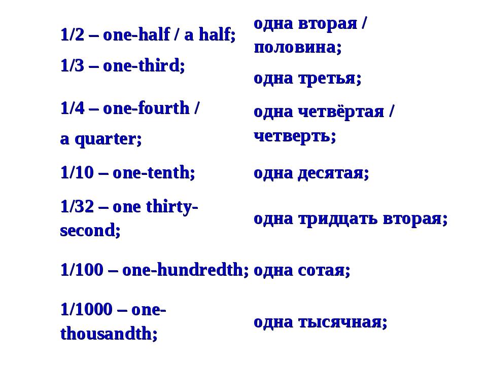 1/2 – one-half / a half; 1/3 – one-third;одна вторая / половина; одна третья...