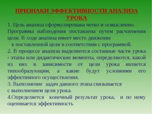 ПРИЗНАКИ ЭФФЕКТИВНОСТИ АНАЛИЗА УРОКА 1. Цель анализа сформулирована четко и о