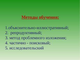 Методы обучения: объяснительно-иллюстративный; 2. репродуктивный; 3. метод пр