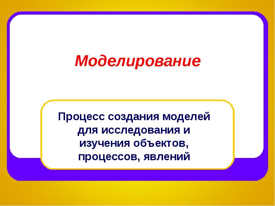 Моделирование Процесс создания моделей для исследования и изучения объектов,...