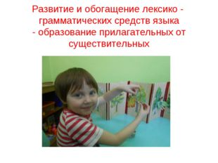 Развитие и обогащение лексико - грамматических средств языка - образование пр